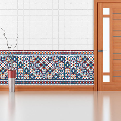 Walplus Tile Red Blue Wall Sticker Decal (Size: 10m x 10cm @ 24pcs)
