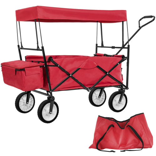 Foldable pull along trolley with roof incl. carrying bag red