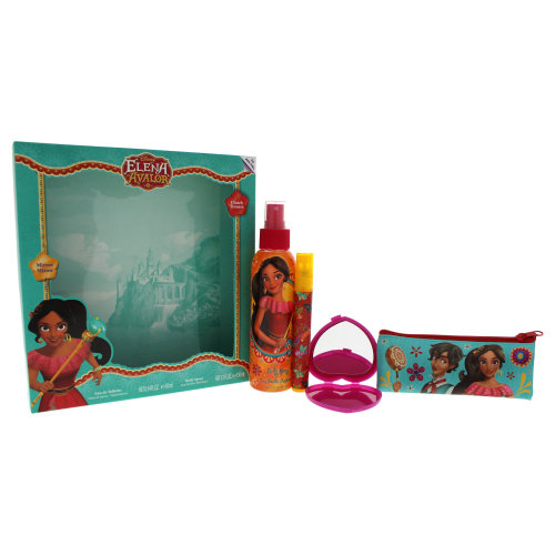 Disney Elena Of Avalor - 4 Pc Gift Set 0.34oz EDT Spray, 5.1oz Body Spray, Clutch, Mirror