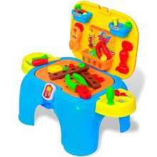 Kids'/Children's Playroom Toy Workbench with Tools Blue + Yellow