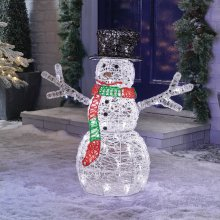 Premier Decorations - 60cm Mains Operated Indoor & Outdoor Acrylic Snowman Christmas Figure