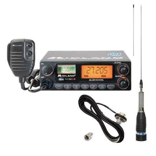 Midland Alan 48 Midi CB Radio Excel + Midland ML145 Antenna with T301 Cable