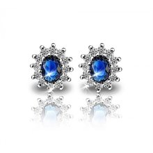 Blue Ocean Oval Shape Earrings