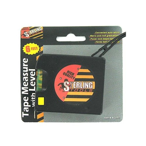 Bulk Buys AC027-48 6' Tape Measure with Level - Pack of 48