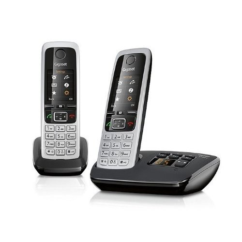Gigaset C430A Cordless Phone with Answering Machine, black(Pack of 2)