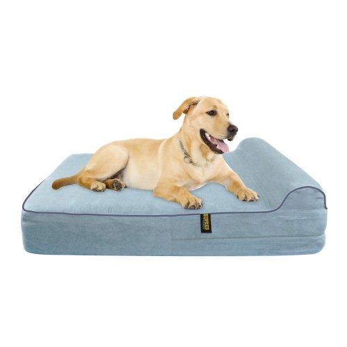 KOPEKS Orthopedic Memory Foam Dog Bed With Pillow and Waterproof Liner & Anti-Slip Bottom