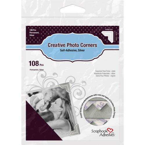 Scrapbook Adhesives Paper Photo Corners Self-Adhesive 108/Pk-Silver