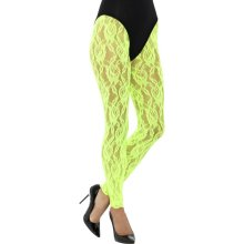 Neon Green Lace Leggings -  lace leggings neon ladies 1980s adults disco fancy dress accessory diva womens green