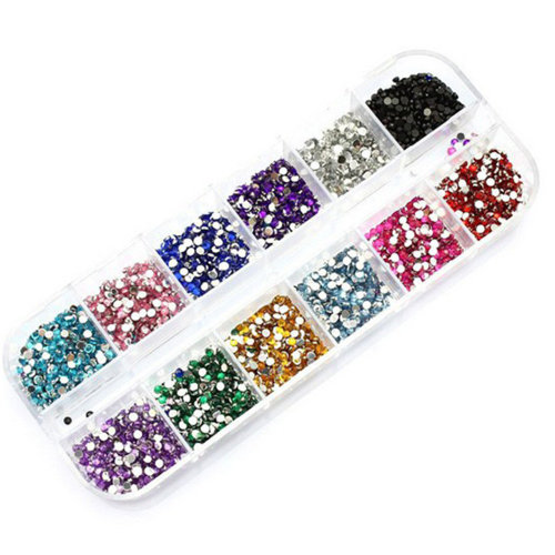 TRIXES 12PC Nail Glitter Gem Charms - Colour Set for Beauty Arts and Hand Crafts