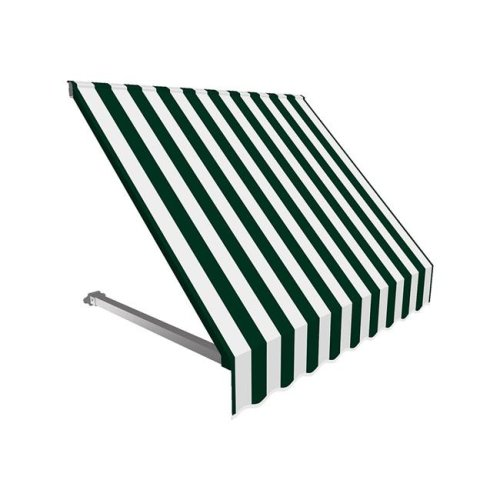 Awntech CR32-US-5FW 5.38 ft. Dallas Retro Window & Entry Awning, Forest Green & White - 44 x 24 in.