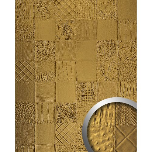 WallFace 13926 COLLAGE Wall panel leather luxury wallcovering gold | 2.60 sqm