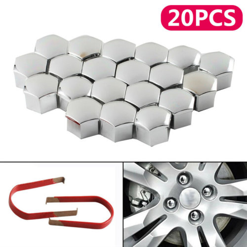 20PC 17MM ALLOY WHEEL WHEEL NUT BOLT CAPS COVERS CHROME SILVER 2X TOOL UK SELLER