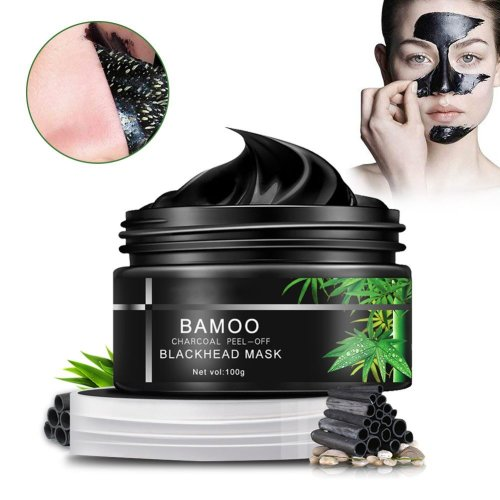Charcoal Blackhead Mask Deep Skin Clean Peel Off Blackhead Nose Strips Face Mask Blackhead Remover Mask For Women & Men With Mirror Spoon 100g