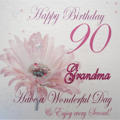 WHITE COTTON CARDS WBA90 GMA Pink Gerbra Happy Birthday 90 Grandma Have A Wonderful Day Handmade