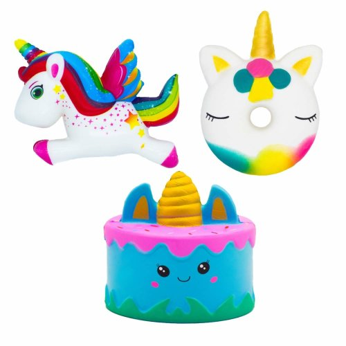 NIMU 3 Pieces Squishies Pack Kawaii Jumbo Squishies Soft and Slow Rising Giant Unicorn Cake Cute Donut Unicorn Rainbow Unicorn Stress Relief...
