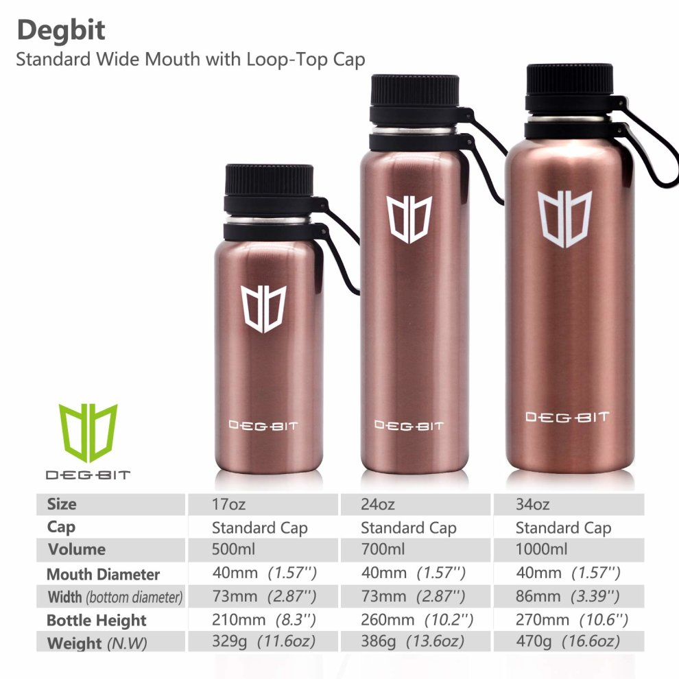 638706bacc ... Degbit Water Bottle, 500/700/1000ML BPA Free Stainless Steel Vacuum  Insulated Sports ...