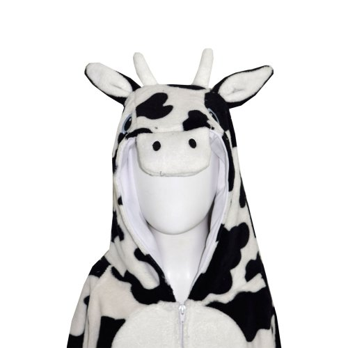 Kids Girls Boys Onesie Soft Fluffy Cow All In One Halloween Costume 7-14 Years