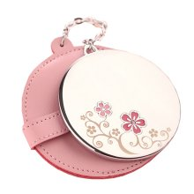 Portable Princess Mirror Vanity Mirror Little Handheld Makeup Mirror Diameter 6.2CM (Pink)