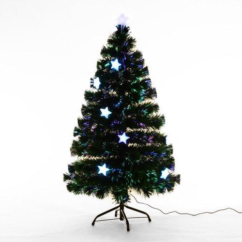 4ft Christmas Tree.Homcom 4ft Fibre Optic Christmas Tree With Led Stars