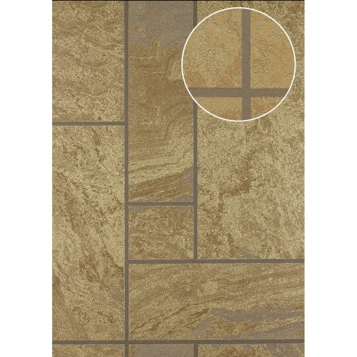 Atlas 24C-5061-1 Stone tile wallpaper metallic highlights bronze 7.035 sqm