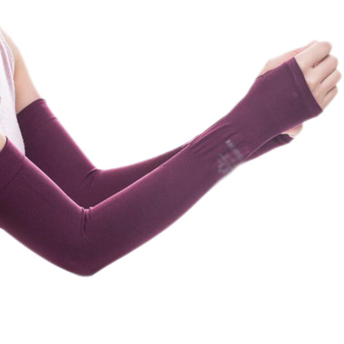 Unisex Outdoor Sunscreen Clothing Mittens Breathable Cycling Sun Protective Sleeves -Wine Red