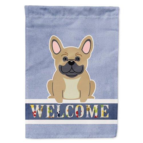 Carolines Treasures BB5591CHF French Bulldog Cream Welcome Flag Canvas House Size