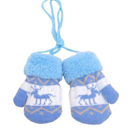 Kids Winter Plush-lined Mittens with String Christmas Deer Thicken Gloves, #06