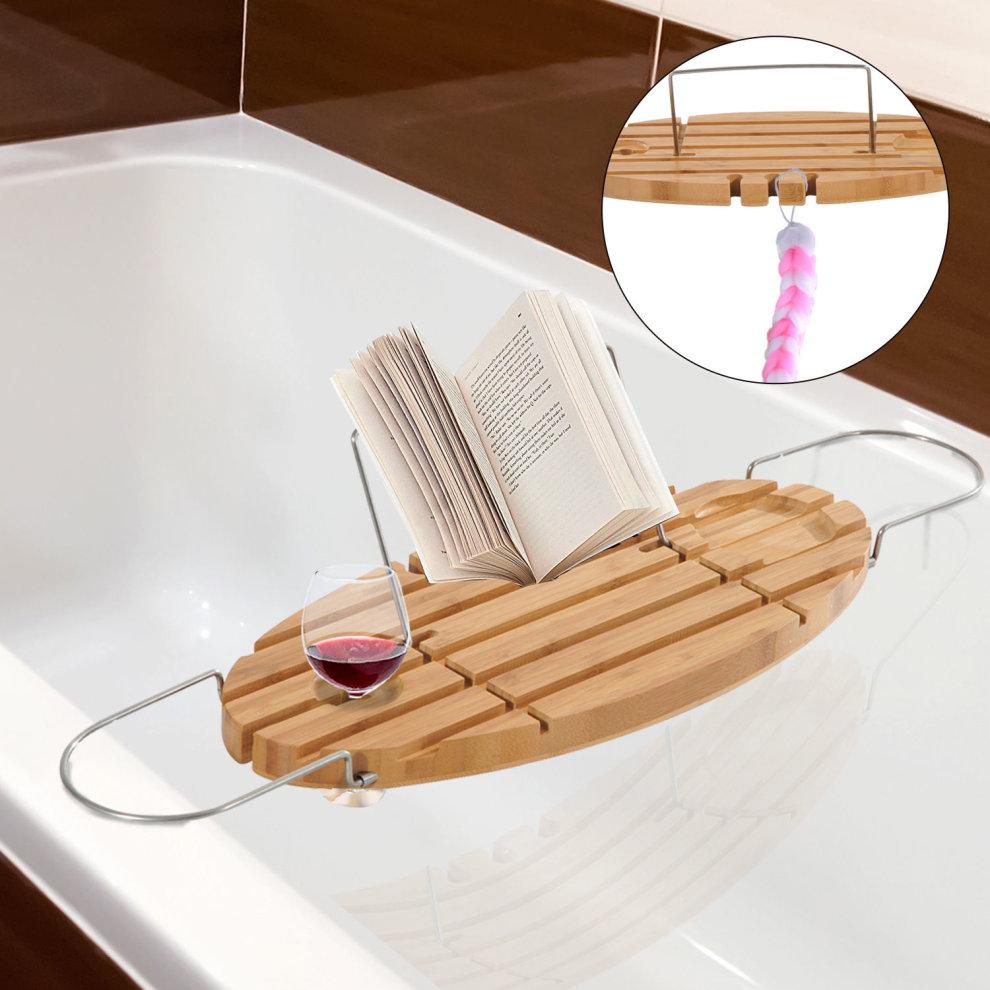HOMCOM Extendable Bamboo Bathtub Shelf Rack Bath Caddy Tray Bathroom ...