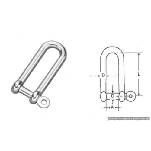 5mm STAINLESS STEEL 316 (A4) Long D shackle