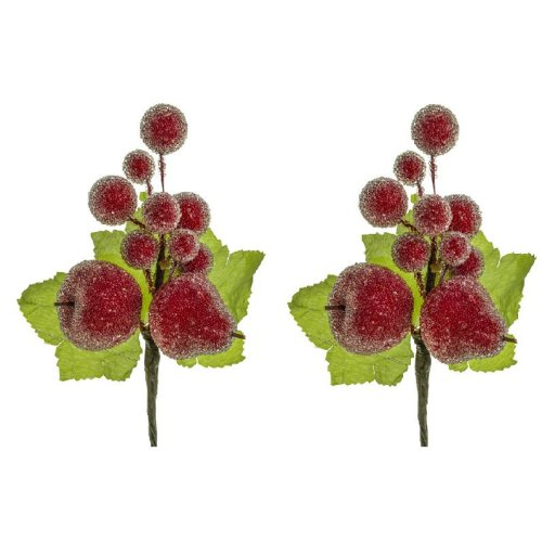 Pack of 2 Artificial Frosted Fruit Picks - Christmas Pick Decorations
