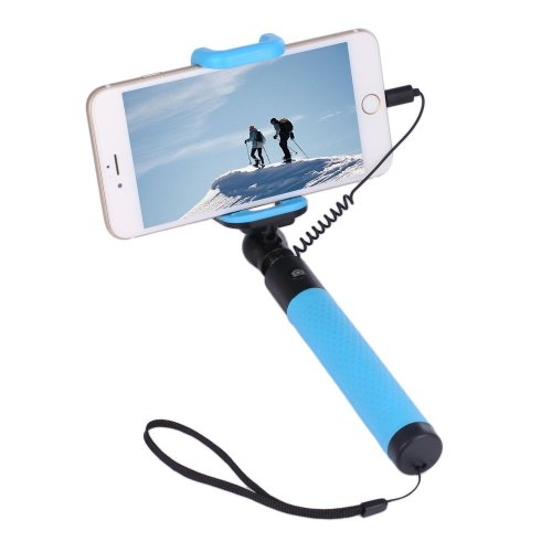 Collapsible Selfie Stick Monopod Wire Control Camera Shutter for iPhone
