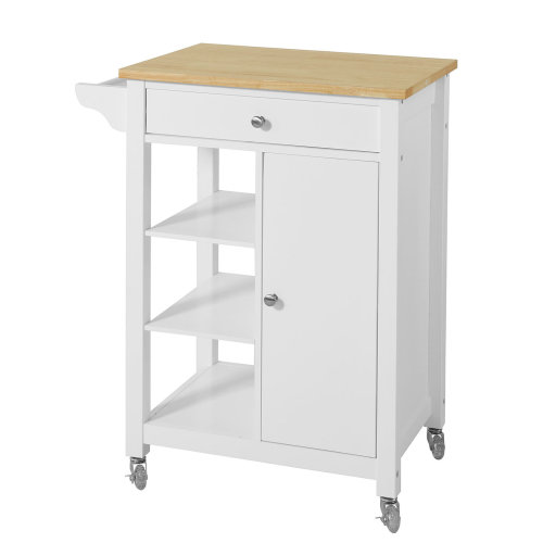 SoBuy® FKW46-WN, Kitchen Storage Trolley Serving Trolley with Cabinet