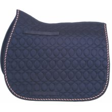 HySPEED Deluxe Saddle Pad with Cord Binding: Navy/Red, White & Blue Cord: Pony