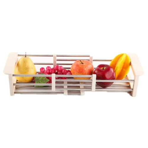 Sink Dish Drainer Rack Collapsible Over Sink Dish Drainer WHITE