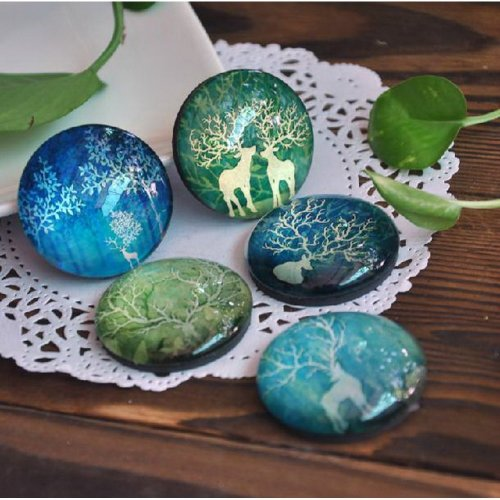 Set of 5 Froggy Forest Magnets Reindeer Crystal Magnet Pretty Magnets