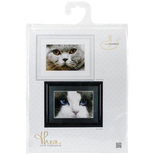 "Cats Smokey + Blue On Aida Counted Cross Stitch Kit-6.75""X4.75"" 16 Count Set Of 2"