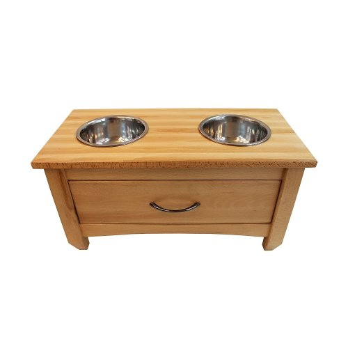 Obique Dog Wooden Raised Feeding Station with 2 Bowls, Natural H-30cm