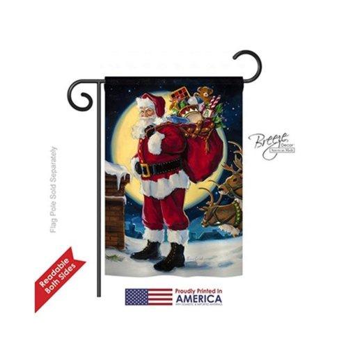 Breeze Decor 64131 Christmas Moonlit Santa 2-Sided Impression Garden Flag - 13 x 18.5 in.