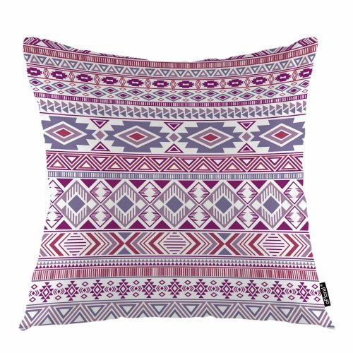 """Melyaxu Plaid Throw Pillow Cover American Ethnic Geometric Patchwork Decorative Square Pillow Case 18""""X18"""" Pillowcase Home Decor for Sofa Bedroom"""
