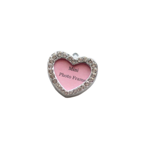 [Heart Shape] Rhinestone Decorated Mini Photo Frame Style Dog ID Tag Cat ID Tag