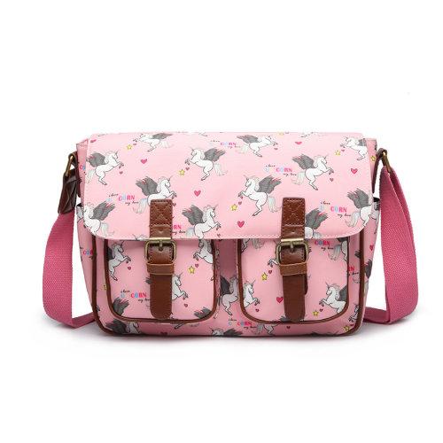 Miss Lulu Unisex Messenger Shoulder Bag School Bags Matte Oilcloth Unicorn Satchel Pink