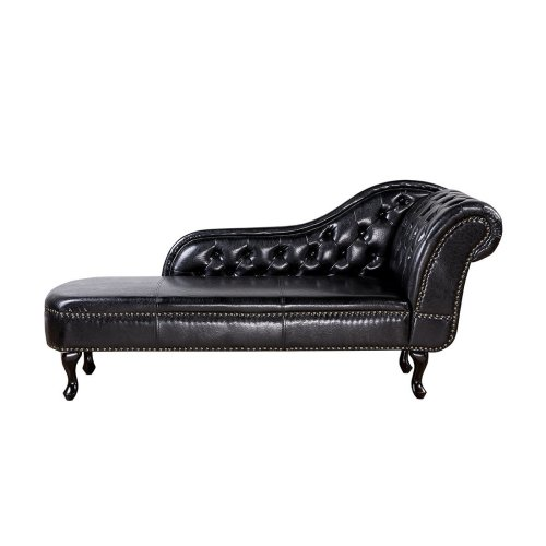 Right Hand Chaise Longue Faux Leather Black NIMES