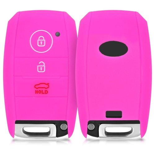 kwmobile Kia Car Key Cover - Silicone Protective Key Fob Cover for Kia 3 Button Car Key Smart Key - Dark Pink