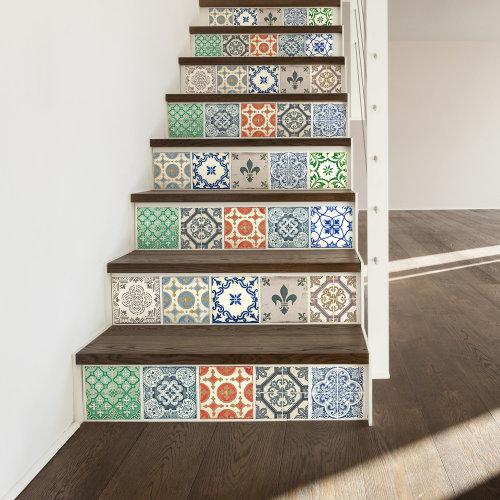 6 Vintage Porcelain Tiles Mix Wall Stickers - 15 cm x 15 cm - 24 pcs.