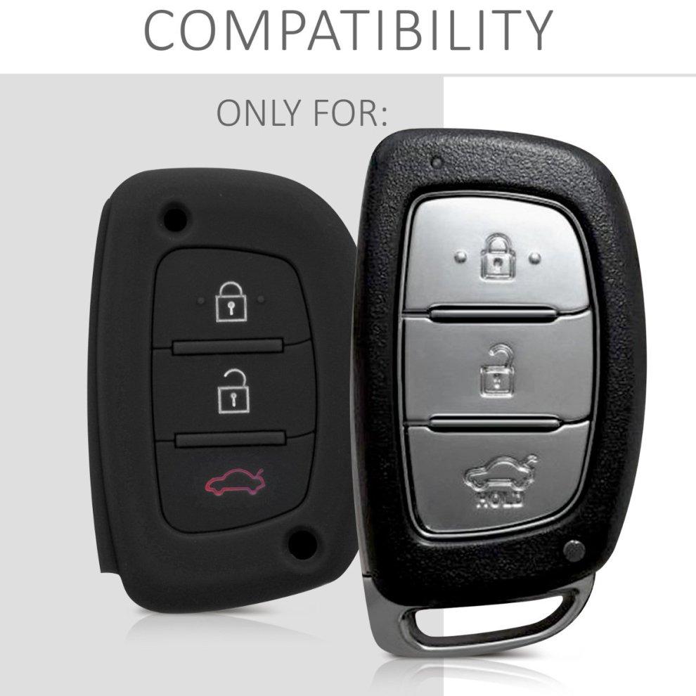 Protective Key Fob Cover for Hyundai Kia 3 Button Car Key Keyless Go Black//White Silicone kwmobile Car Key Cover for Hyundai Kia -