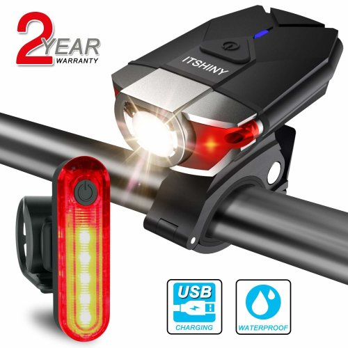 ITSHINY USB Bike light Set Rechargeable, LED Bike light Front and back Bicycle Light Set Waterproof Bright Headlight Taillight Combinations Easy To...