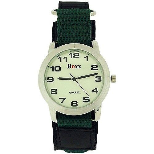 Boys' Khaki Luminous Dial Velcro Strap Watch