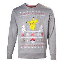 Pokemon Mens Dancing Pikachu Christmas Jumper Small Grey Model. SW504573POK-S