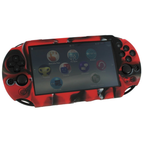 Case for PS Vita 2000 Slim Sony silicone skin protective cover ZedLabz red camo