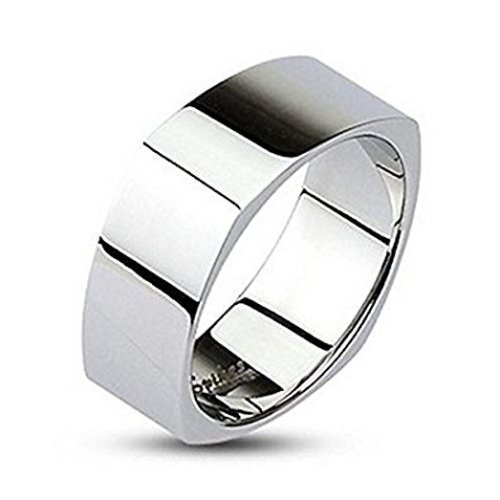 Highly Mirror Polished Square Surgical Steel Band Ring